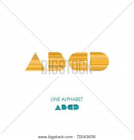 A B C D - Simple Modern Lines Flat Alphabet