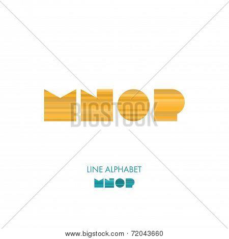 M N O P- Simple Modern Lines Flat Alphabet