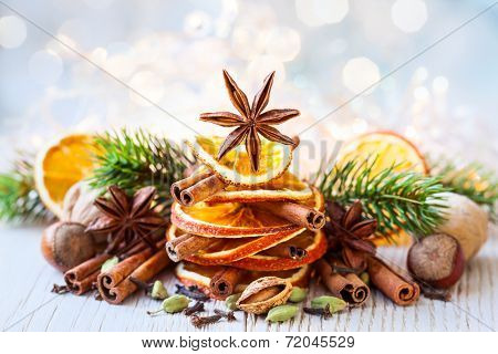 Christmas tree made out of dried oranges,cinnamon sticks and anise star