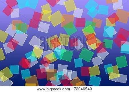 Square Shapes On Blue