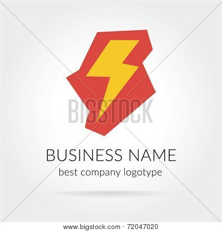 Colored lightning logo icon for design