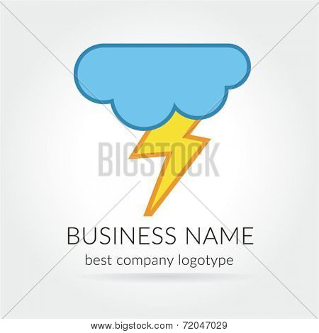 Colored lightning logo logotype with cloud for design
