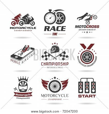 Motorcycle racing icon set - 2