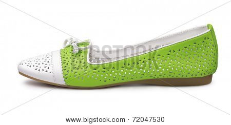 Single leather pump shoe isolated on white