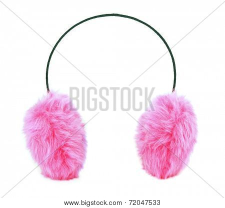 Pink furry ear muffs isolated on white