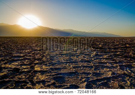 Beautiful sunset at Badwater Death Valley National Park