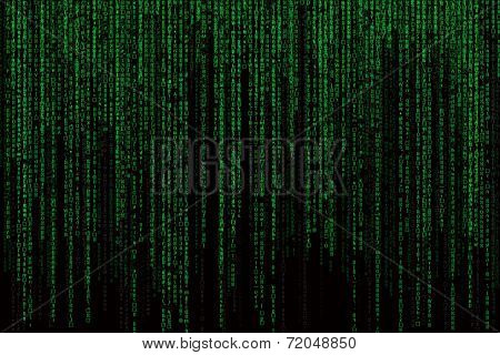 computer language Background With The Green Symbols, Motion Blur