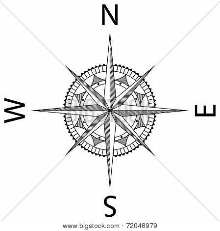 Black Wind Rose Isolated On White Background