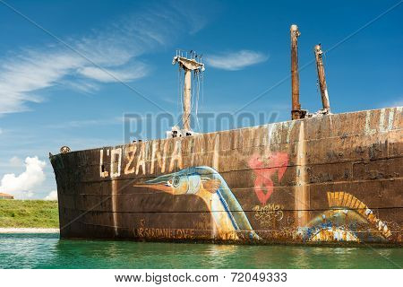 Old Shipwreck Near The Black Sea Beach