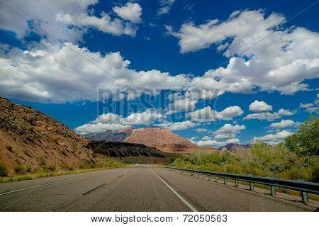 empty road in zion national park utah
