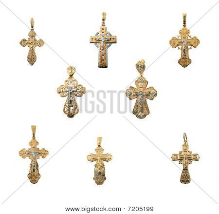 Golden Jewelry Crosses