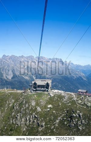 CHAMONIX, FRANCE - SEPTEMBER 02: Aiguille du Midi cable car station. The cable car is the highest in Europe, and offers close views of the Mont Blanc summit. September 02, 2014 in Chamonix.