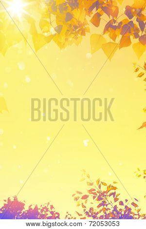 Art Autumn Tree Yellow Leaves Background