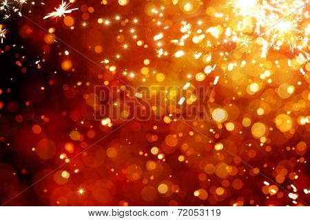 Art Magic Christmas Background. Golden Holiday Abstract Glitter Defocused Background With Blinking S