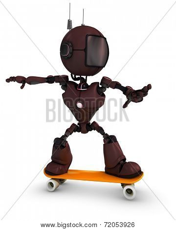 3D Render of an Android skateboarder
