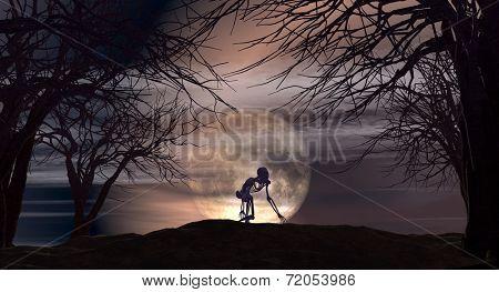 Halloween landscape with spooky skeletons against a moonlit sky