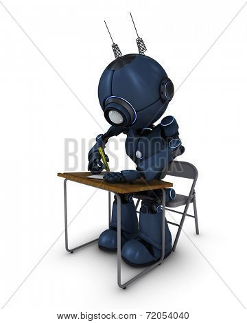 3D Render of an Android at school desk