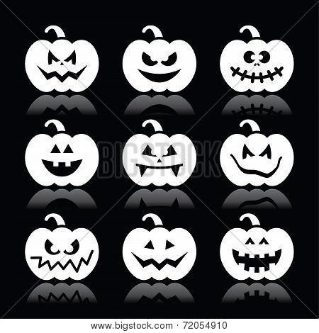 Halloween pumpkin vector icons set on black background