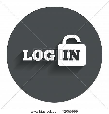 Login sign icon. Sign in symbol. Lock.