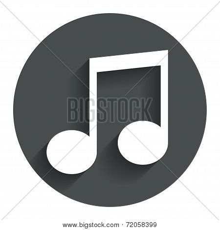 Music note sign icon. Musical symbol.