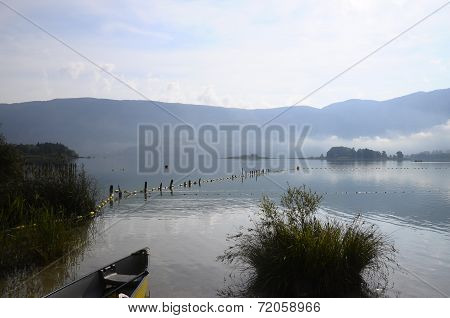 Canoe On Aiguebelette Lake In France