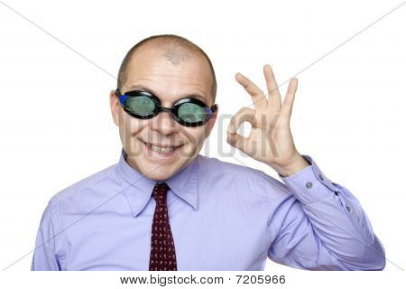 Crazy Businessman With Swimming Goggles