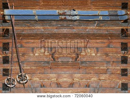 Historic Ski With Poles On Wooden Board