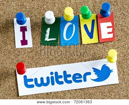Belgrade - June 17, 2014 I Love Twitter Letters Printed On Paper And Pinned On Cork Bulletin Board