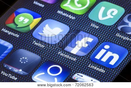 Belgrade - July 05, 2014 Popular Social Media Icons Facebook Twitter And Other On Smart Phone Screen