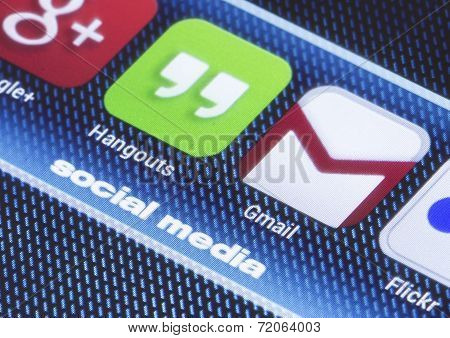 Belgrade - July 11, 2014 Popular Social Media Icons Hangouts Gmail And Other On Smart Phone Screen C