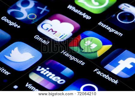 Belgrade - June 23, 2014 Popular Social Media Icons Hangouts Gmail And Other On Smart Phone Screen C