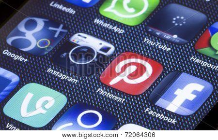Belgrade - July 05, 2014 Popular Social Media Icons On Smartphone