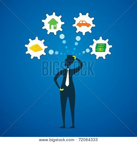 men think about different dream like money, gold, house and car concept vector