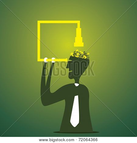 men see the brain by binocular for any new idea concept vector