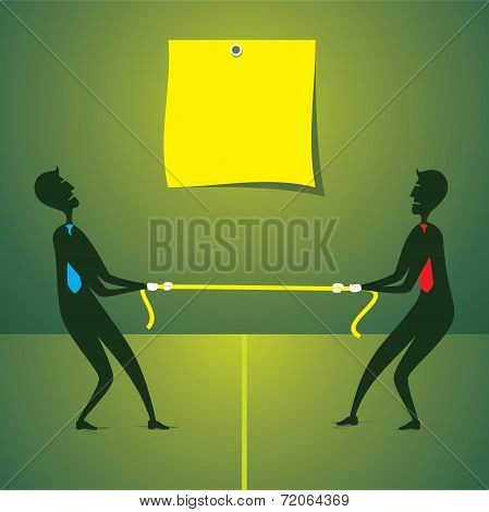 tug war between two men and write your text concept vector