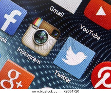 Belgrade - April 26, 2014 Popular Social Media Icons On Smartphone