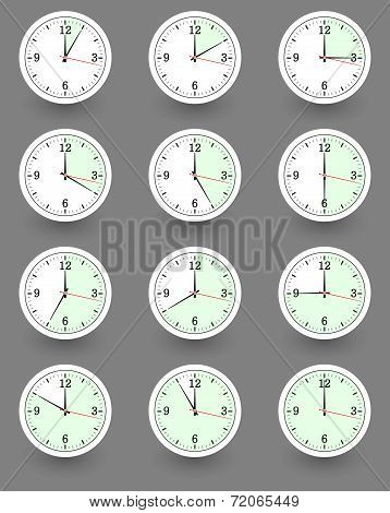 Twelve clocks showing different time. Vector