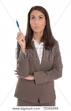 Isolated serious businesswoman in suit thoughtful and pensive.