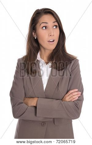 Shocked isolated businesswoman looking sideways to text.