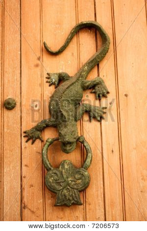 Metal Knocker Shaped Dragon Or Lizard