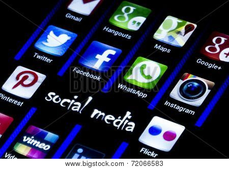 Belgrade - July 14, 2014 Popular Social Media Icons Twitter, Facebook And Other On Smart Phone Scree