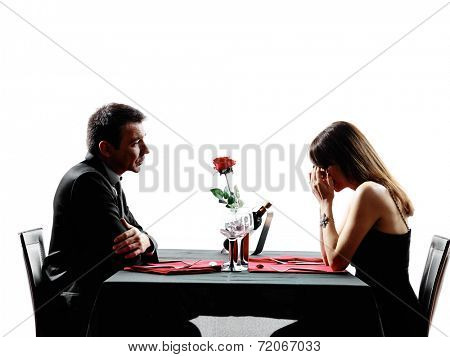 couples lovers dinning dispute separation in silhouettes on white background