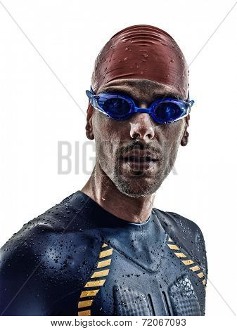 man triathlon iron man athlete swimmers portrait in silhouette on white background