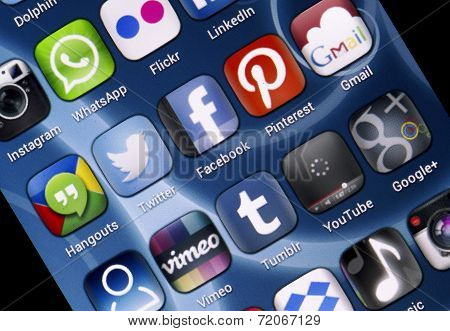 Belgrade - June 30, 2014 Popular Social Media Icons Twitter, Facebook And Other On Smart Phone Scree