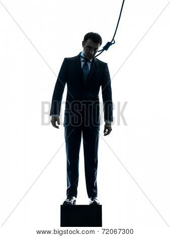 one  man business man suicidal hanging in silhouette studio isolated on white background