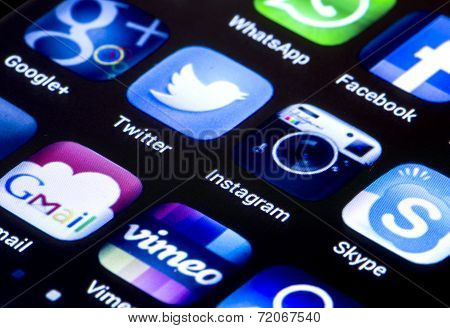 Belgrade - June 23, 2014 Popular Social Media Icons Twitter, Instagram And Other On Smart Phone Scre