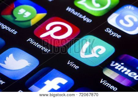 Belgrade - June 23, 2014 Popular Social Media Icons Vine Pinterest And Other On Smart Phone Screen C