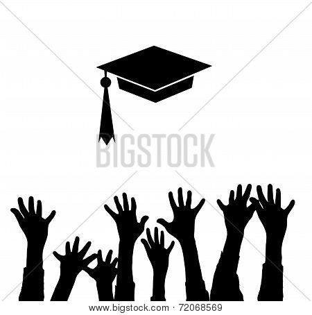 Graduation Cap and rise hands