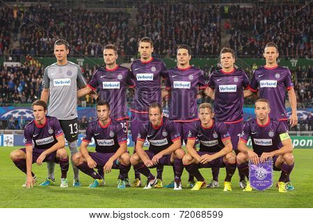 VIENNA, AUSTRIA - SEPTEMBER 18 The team of FK Austria Wien pose before a UEFA Champions League game on September 18, 2013 in Vienna, Austria.