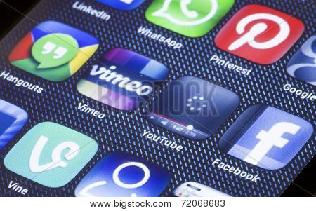 Belgrade - July 05, 2014 Popular Social Media Icons Youtube Vimeo And Other On Smart Phone Screen Cl